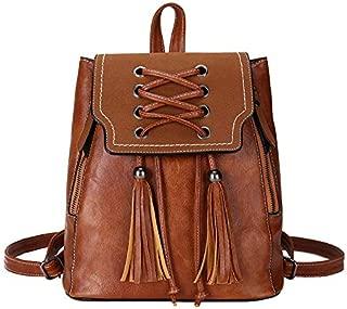 Daypacks Women Backpack Purse Waterproof Leather Vintage Rucksack Lightweight School Shoulder Bag Mens Backpack (Color : Brown)