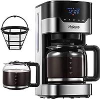 yabano macchina caffe, macchina caffe americano digitale automatica con timer, aroma selector, filtro permanente, pulsanti touch, 900w, 1,5 l, acciaio inossidabile
