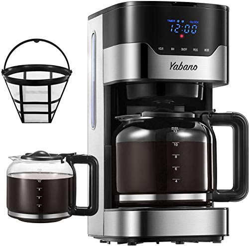 Macchina Caffe, Macchina Caffe Americano Programmabile con Display LED Pulsanti Touch, Intensità dell\'Aroma Regolabile, 12Tazze Caffettiera Americana Digitale con Filtro Permanente, 1.5L, Acciaio Inox