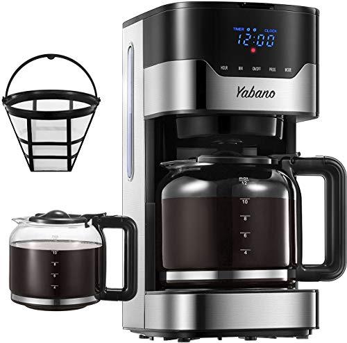Yabano Filter-Kaffeemaschine Digitale mit Timer, AromaSelector, Permanentfilter, Touchscreen, 900W, 1.5 L, Edelstahl
