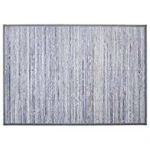 Alfombra de bambú con listones gris claro 120X170