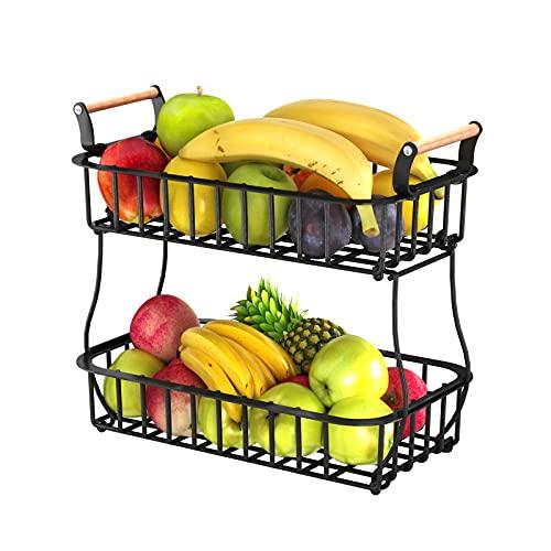 Apsan 2 Tier Fruit Storage Basket Countertop for Kitchen, Bread Vegetable Farmhouse Fruit Basket Bowl Stand Detachable Metal Rectangular Wire Basket with Wooden Handles, Black