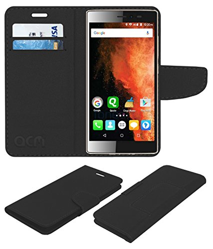 Acm Leather Flip Wallet Case Compatible with Micromax Canvas 6 E485 Mobile Cover Black