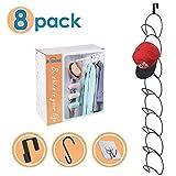B. SHINE Cap Rack Hat Organizer – 8 Rings Hanging Caps Organizer, Hats Scarfs Rack, Multifunctional Door/Wall/Closet Mounted Racks, Black