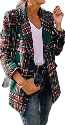Dames Herfst & Winter Plaid Check Cardigan Zakelijk Werk Blazer Jas Pak Jas