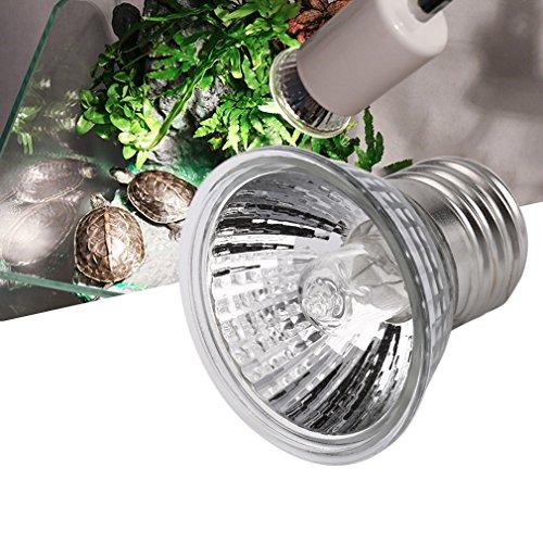 Gugutogo Lampada UVB 75W compatta Ideale per terrari a Spettro Completo per Anfibi (Colore: Argento)