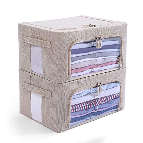 2 Pack Clear Window Storage Bins - Foldable Fabric Storage Bins Boxes for Clothes - Stackable Container Organizer Set with Carrying Handles (Beige, 22L,15.7X 11.8X 7.8 Inch)