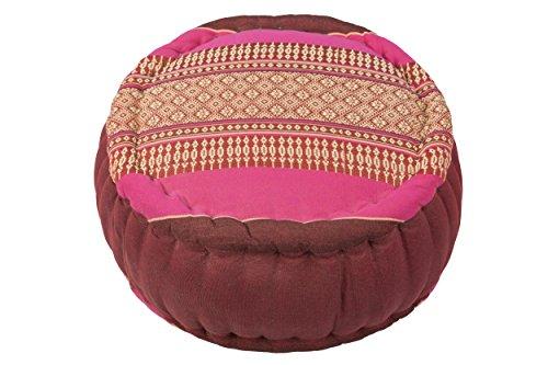 Handelsturm Cojín Zafu para la meditación (35 x 20 cm, cojín con Relleno de kapok), Rosa y Granate