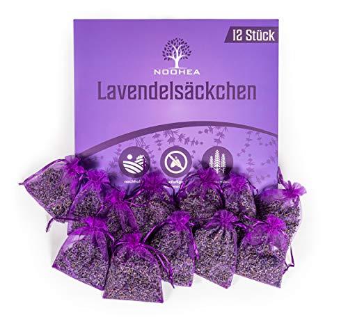 NOOHEA 12x Lavendelsäckchen mit natürlichen Lavendelblüten (120gramm) - Duftsäckchen zum Entspannen und Schlafen - Mottenschutz für Kleiderschrank - gegen Motten im Schrank