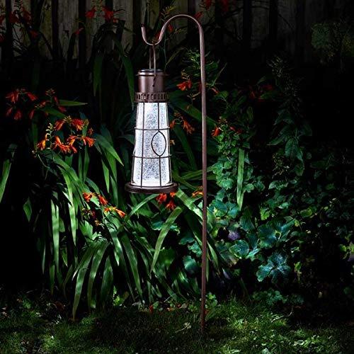 Garden Mile Solar Powered Lighthouse Lantern Garden Stake Light Outdoor Lighting Decorative Ornament Lamp Hanging Patio Decking Driveway Lawn