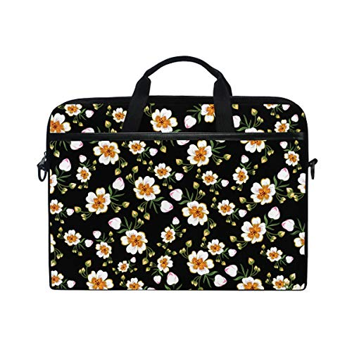 Ahomy 14 Inch Laptop Bag, Beautiful Flowers Floral Canvas Fabric Laptop Case Bussiness Handbag With Shoulder Strap for Women and Men