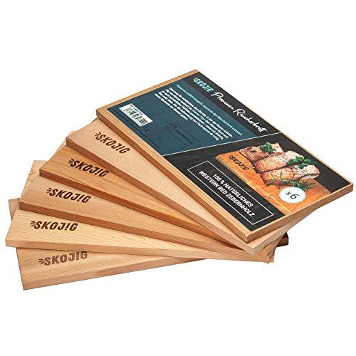 Tavole per affumicatura da 6 confezioni in legno di cedro canadese   circa 28x14x1cm grigliate bw. Tavole per barbecue ideali per carne di pesce e ver