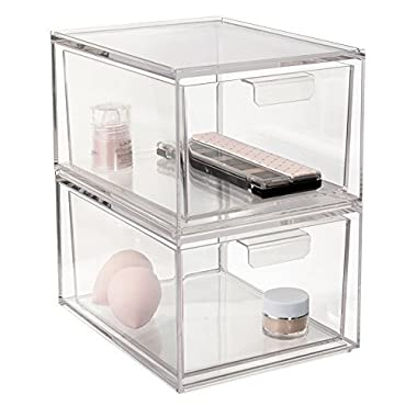 STORi 2-Pack Premium Quality Stackable Cosmetic Storage and Makeup Palette Organizer Drawers | Audrey Collection