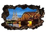 3D Wandtattoo Kölner Dom Köln Skyline Stadt Brücke Wandbild Wandsticker selbstklebend Wohnzimmer Wand Aufkleber 11E624, Wandbild Größe E:ca. 168cmx98cm
