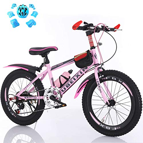 LINGYUN Variable Speed Mountain Bikes for Children and Teenagers, 18 20 22 Inch Boys and Girls Commuter Bikes with Dual Brakes and Water Bottles,Pink,20in