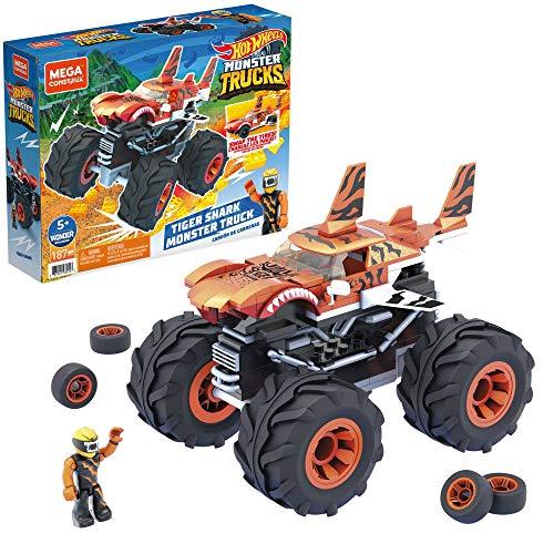 Mega Construx GVM26 - Hot Wheels Monster Trucks Tiger Shark, Bauset mit 186 Teilen, 1 bewegliche Mikro-Actionfigur, Spielzeug zum Zusammenbauen, für Kinder ab 5 Jahren