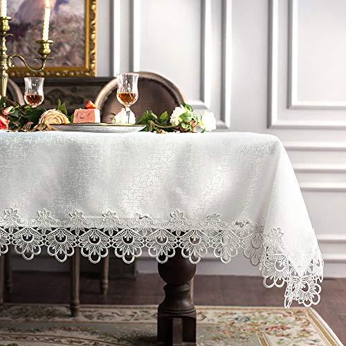 ARTABLE Mantel rectangular de encaje con bordado transparente, para mesa de cocina con borde de encaje, se puede utilizar para una elegante mesa larga de comedor (blanco, 140 x 180 cm)