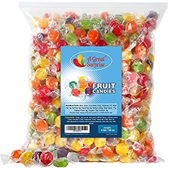 Fruit Flavored Hard Candy - 4 LB Bulk Candy - Assorted Fruit Flavored Candy - Individually Wrapped Bulk Candies