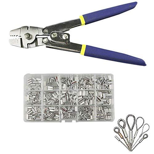 XUSHEN-HU Alicates de pesca de acero inoxidable para corte de cuerda de alambre con 150 piezas de crimpado de virola para crimpadoras y herramientas de crimpado