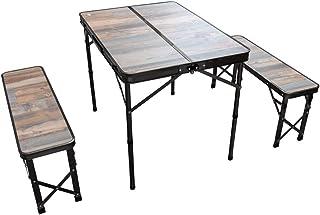Viaggio+ アウトドア テーブル ベンチ 3点セット ウッド調 ベンチセット テーブルセット テーブルチェアセット