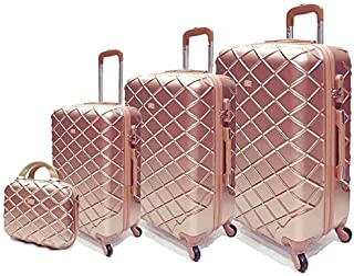 Passenger trolley hard luggage bag set Rose gold