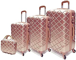 Passenger trolley hard luggage bag set Rose gold