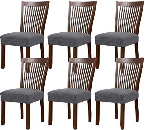 FDQNDXF Stuhl Schonbezüge Stretch Esszimmerstuhl Polyester Spandex Stoff Stuhlbezüge Waschbar Abnehmbarer Stuhl Schonbezug Esszimmerstuhl Schutzhülle, für Küche, Esszimmer (Grau, 6er Pack)