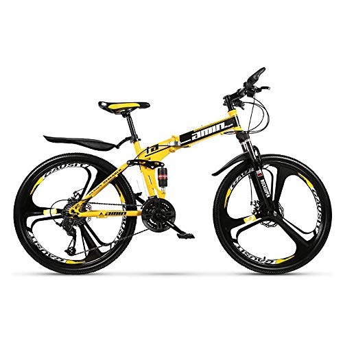 L&WB Bicicleta De Montaña 26 Pulgadas 24 Velocidades / 27-Velocidades / 30 Velocidades All-Speed ​​Wheel Rueda Doble Bollo De Doble Amortiguación Cross-Couther Plegable Mountain Bike,Amarillo,24speed