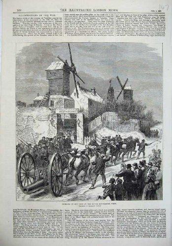 Original old antique victorian print 1871 Cavallo di Montmartre Parigi Francia delle Colline delle Pistole della Nave