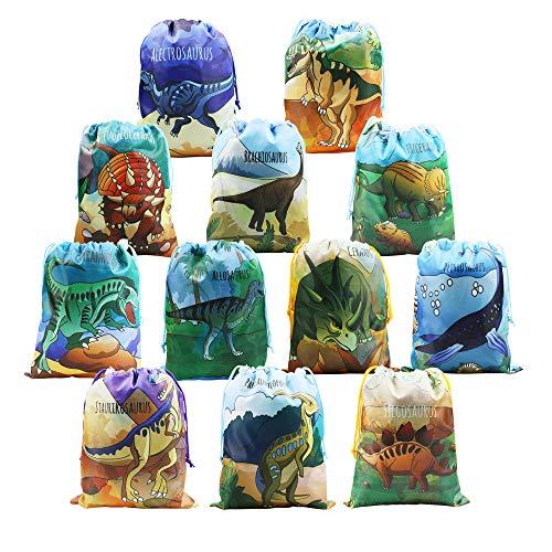 BeeGreen Dinosaurier-Partyzubehör, Gastgeschenke für Kinder, Jungen und Mädchen, Geburtstag, 12 Stück, Dino-Geschenkbeutel mit Kordelzug