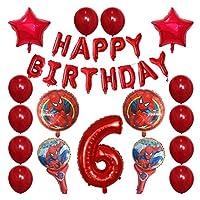 バルーン 30pcsスパイダーマンホイルの風船1 2 3 4 5 6 7 8 9歳の誕生日パーティーの装飾番号バルーンスターキッズのおもちゃ (Color : 6)