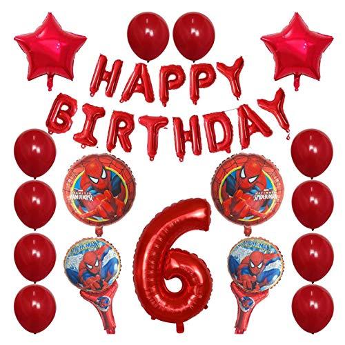 LEILEIMY Globo 30 unids Spiderman Foil Balloons 1 2 3 4 5 6 7 8 8 9# Decoraciones de Fiesta de cumpleaños Número Globo Star Niños Juguetes Festival (Color : 6)