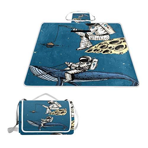 XINGAKA Picknickdecke,Astronaut Raumfahrer mit Angelrute Der Mond Blauwal,Outdoor Stranddecke wasserdichte sanddichte tolle Picknick Matte