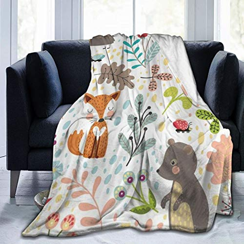 QIUTIANXIU Mantas para Sofás de Franela 150x200cm Niños 's Woodland Forest Animals Adorable Girls Cute Cartoon Baby Divertidas Plantas Colorful Weeds Kids Manta para Cama Extra Suave 🔥