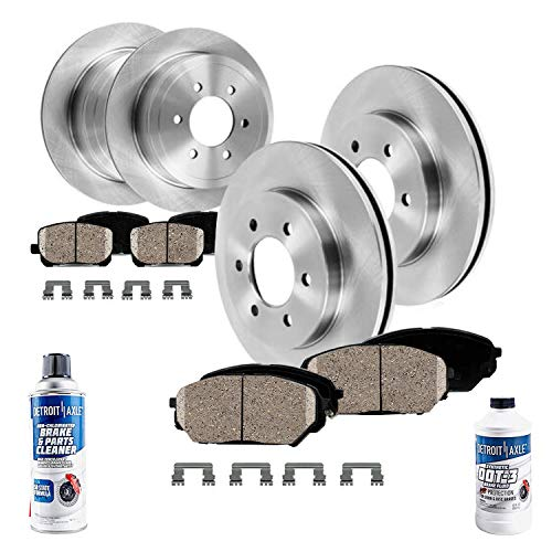 Detroit Axle - All (4) Front and Rear Disc Brake Kit Rotors w/Ceramic Pads w/Hardware & Brake Kit Cleaner & Fluid for 2011 2012 2013 2014 2015 Nissan Titan - [2012-2015 Armada]