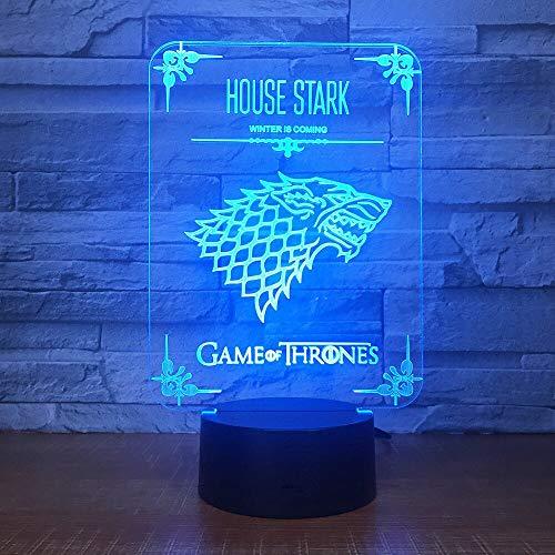 Jiushixw 3D acryl nachtlampje met afstandsbediening, verandert van kleur, tafellamp, speelhuisje, speelhuis met metalen tafel
