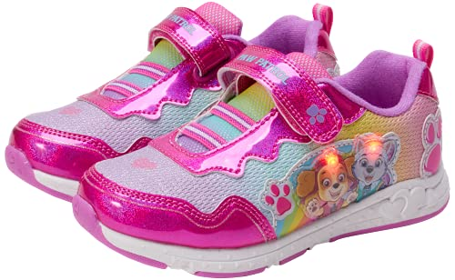 Nickelodeon Girls' Paw Patrol Sneakers - Laceless LED Light Up Running Shoes (Toddler/Little Kid), Size 9, Sky Everest