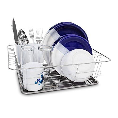 Relaxdays Abtropfgestell L in Edelstahl-Optik HBT 40,5 x 30,5 x 13 cm Geschirrkorb mit Abtropfgitter und Auffangwanne Geschirrständer mit Besteckkorb und Abtropfschale für Teller und Besteck, silber
