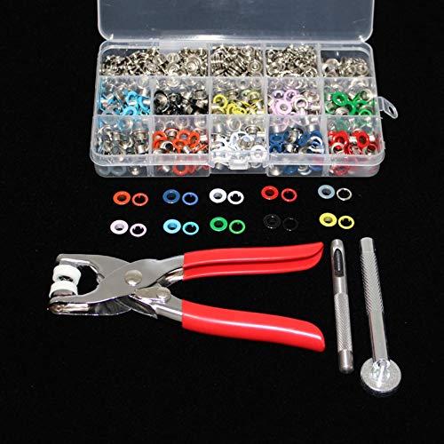 CHWK Alicate de 1 Pieza + 1 Herramienta de Ojales + 100 Piezas 10 Colores Mezclados Botones de presión de Punta de 9,5 mm Cierres Prensa espárragos Poppers + 200 Piezas Ojales de 5 mm