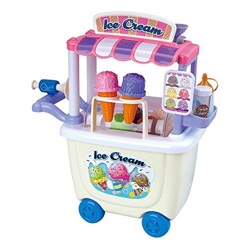 Carrito de helados con toldo, asa de empuje y claxon, piezas: 28 Incluye: 2 galletas de cucurucho, 1 bote de fideos de colores, 1 bote de caramelo, 4 copas y 1 cuchara de helado 6 bolas de helado intercambiables: fresa, nata, pistacho, chocolate negr...
