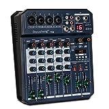 Depusheng T6 - Mezclador de audio portátil de 6 canales para tarjetas de sonido integrado 16 DSP 48...