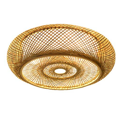 E27 Deckenlampe Holz Vintage Bambus Laterne Deckenleuchte Retro Runde Deckenlich Handgewebte Rattan Lampenschirm Lampe Restaurant Wohnzimmer Schlafzimmer Büro Dekorative Beleuchtung Kronleuchter,50cm