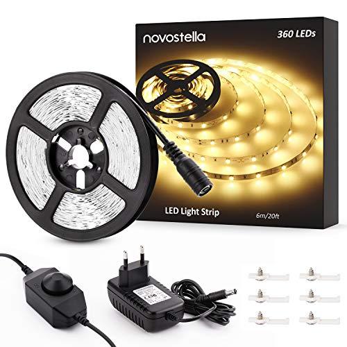 Novostella LED Strip 6m Warmweiß Dimmbar LED Streifen LED Lichtband mit Netzteil LED Lichtleiste mit Kleber 3000K 12V Innenbeleuchtung für Deko Bett Küche