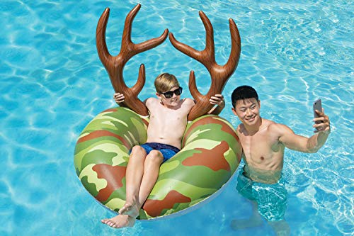 Poolmaster Camo Inflatable Swimming Pool Party Float (48 Inch), Green, Brown, Tan