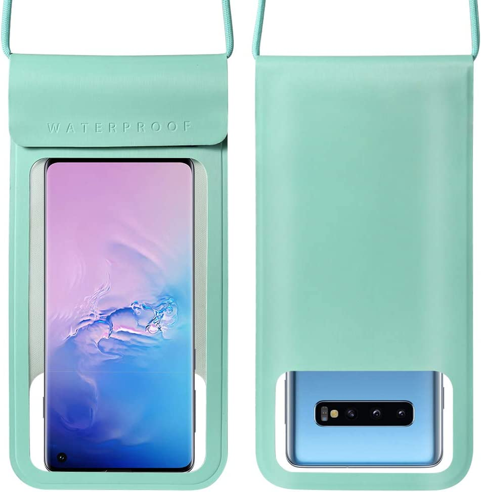 Universal Waterproof Phone Pouch Dry Bag w/Adjustable Lanyard for Samsung Galaxy S21+ Note 20 A11 A31 A52 A71 / Apple iPhone 12 Pro Max/Moto E G Fast/OnePlus 9 8T / Google Pixel 4 XL (Turquoise)
