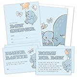 Set of 25 Elephant Baby Shower Invitations, Diaper Raffle Tickets and Baby Shower Book Request Cards with Envelopes. Perfect for Baby Boys and Baby Girls