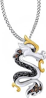 1/8 Ct Black Champagne Natural Diamond Dragon Pendant in 14K Gold Over Sterling Silver