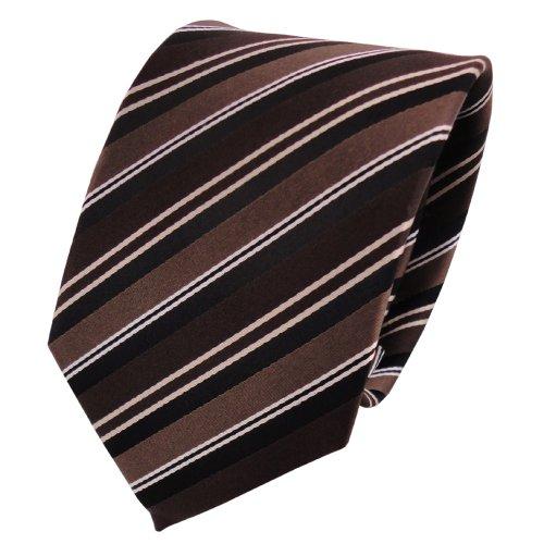 Cravatta in seta - marrone scuro marrone cioccolato bianco nero striato - Cravatta in seta