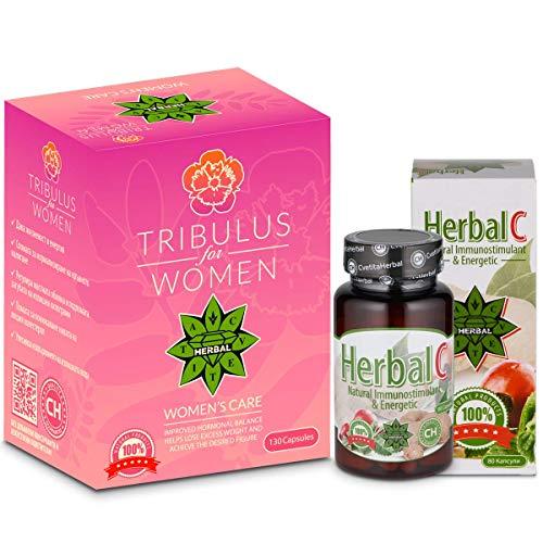 Cvetita Herbal, Tribulus voor vrouwen 120 capsules + kruiden C 80 capsules, juiste werking van het hormonale systeem, natuurlijke immunostimulant & energiek, maca wortel, Siberische Ginseng