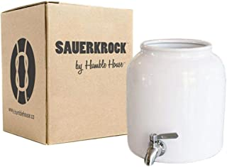 Humble House SAUERKROCK TAP Kombucha Crock with Stainless Steel Spigot - 5 Liter (1.3 Gallon) Ceramic Jar in Natural White for Continuous Brewing